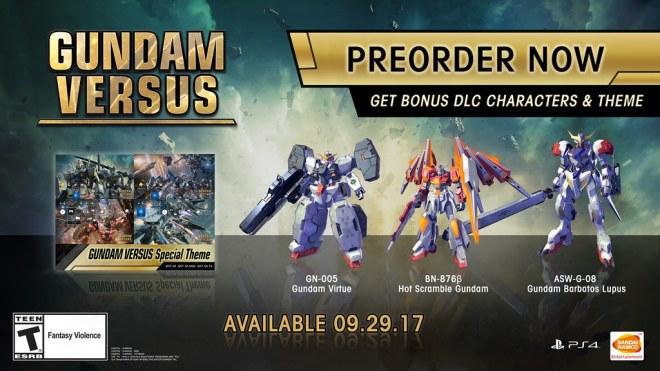 Gundam Versus Pre-order - Digital Bonuses