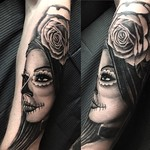 Day of the dead girl for Graham. Done at Far Beyond, Luton. Thankyou mate! #dayofthedead #portrait #roses #silverbackink #blackandgreytattoo