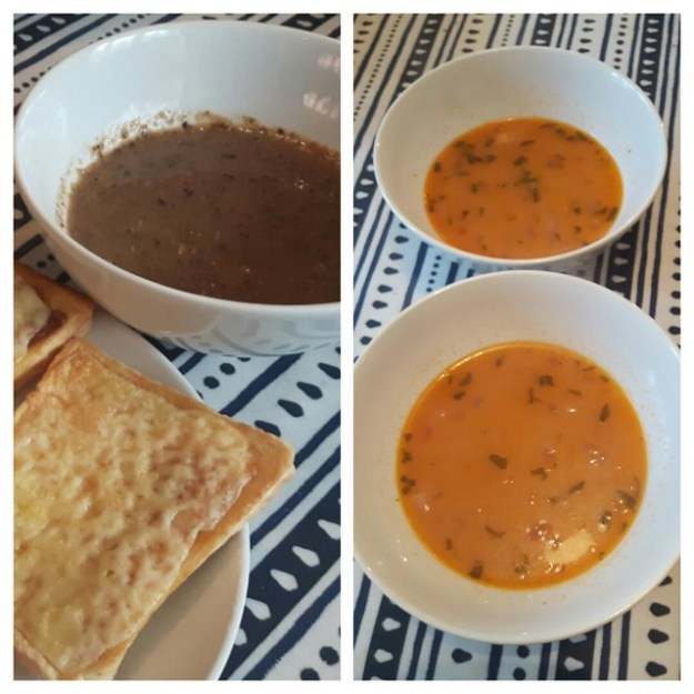 Mushroom & bean and sage soups