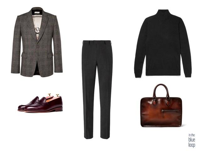 Blazer de tweed para hombre, pantalón de vestir, zapatos loafer, jersey de cuello vuelto y maletín para un look masculino smart-casual