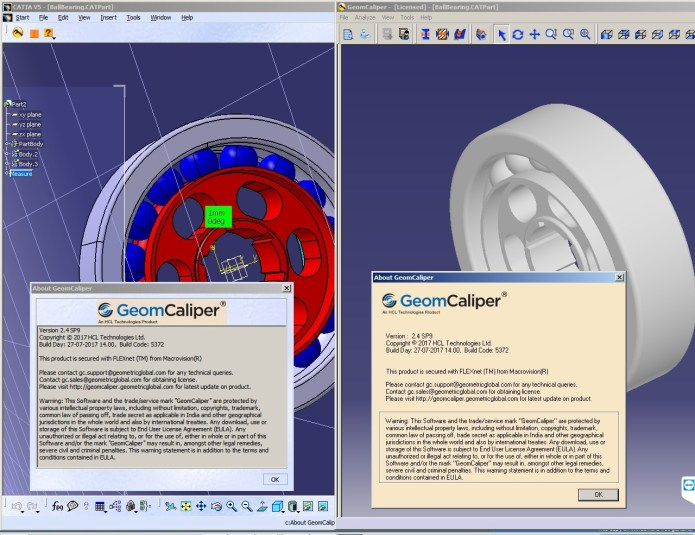 Working with Geometric GeomCaliper 2.4 SP9 for CATIA full license