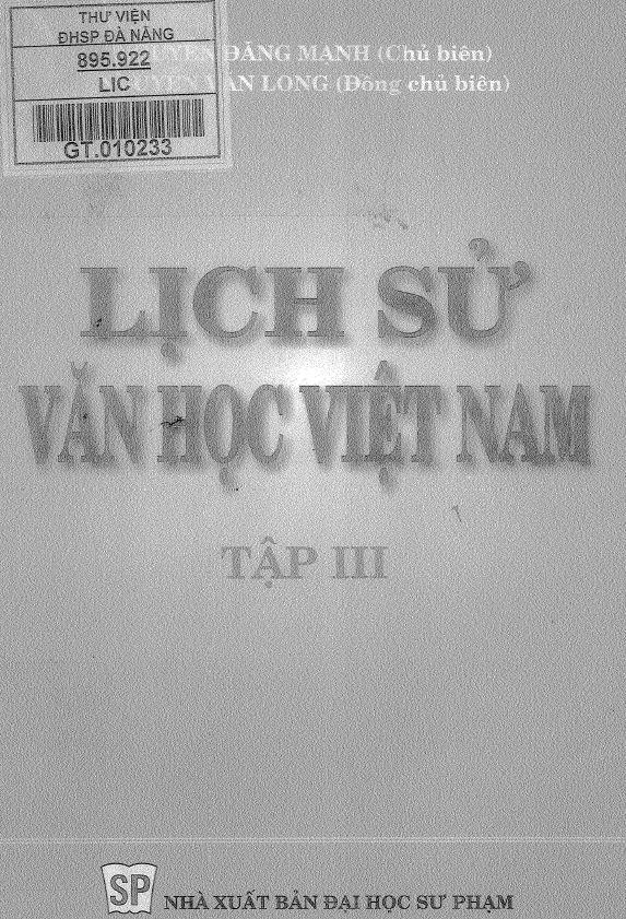 Sách lịch sử văn học Việt Nam tập 3 - Nguyễn Đăng Mạnh