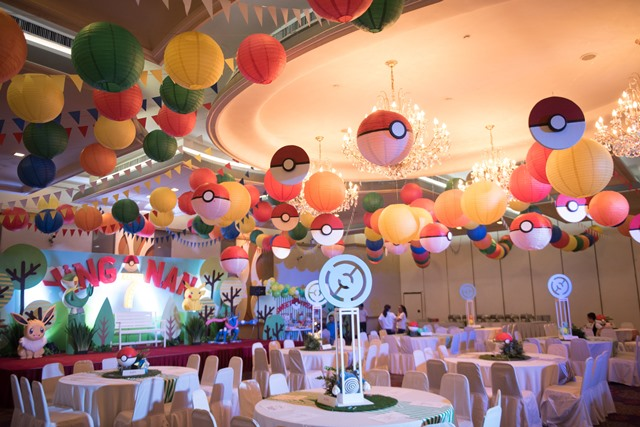 pokemon party ceiling and table