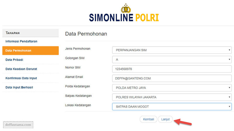 Langkah Pengisian SIM Online