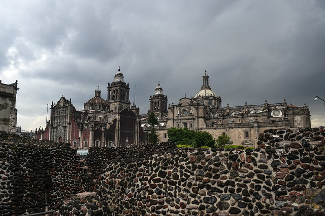 Templo Mayor Ruins with Metropolitan Cathedral in Background