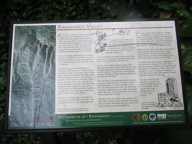 Picture of a Moanalua Valley Sign