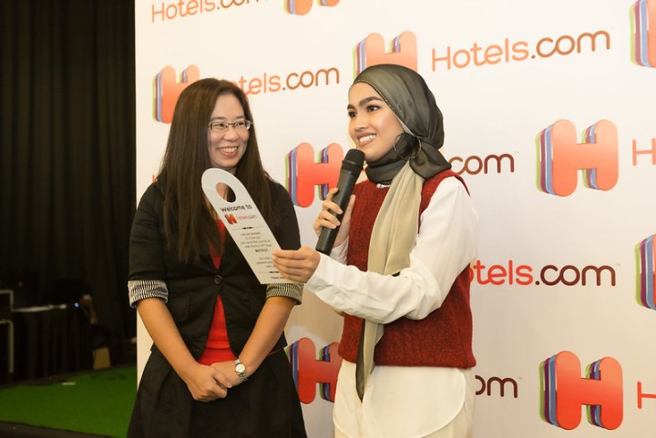 Jessica Chuang and Elfira Loy sharing a light moment during the launch of the campaign