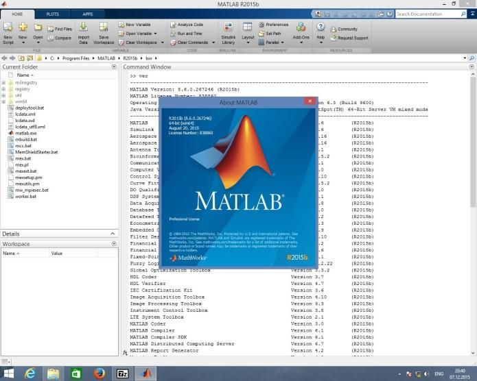 giao diện làm việc của phần mềm matlab 2015 full license