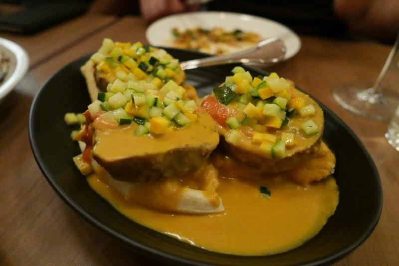 Stuffed Eggplant Kuzhambu, Tomato, Summer Squash, Coconut, Dosai Waffle by Pushkar Marathe of Ghee (Miami)