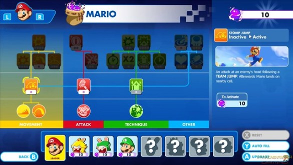 Mario + Rabbids Kingdom Battle - Skill tree