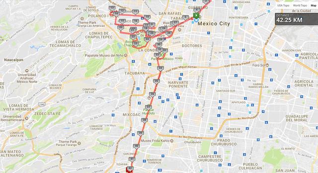 Ruta del Maratón de la Ciudad de México 2017