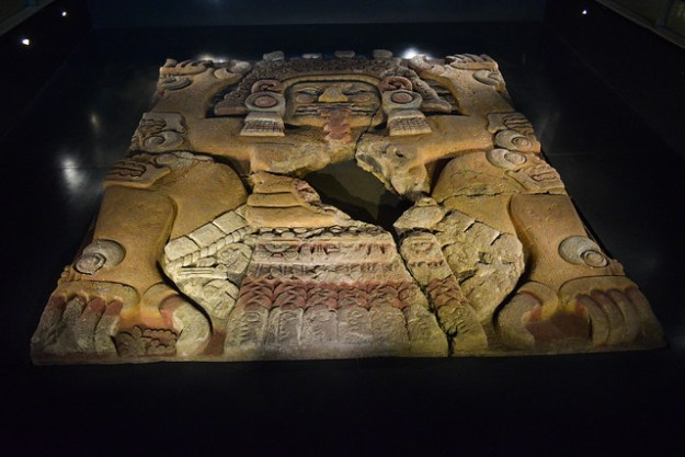 Tlaltecuhtuli monolith on display at Templo Mayor Museum