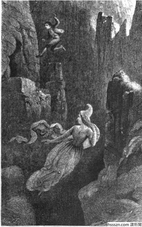 Engraving-of-a-man-jumping-after-a-female-elf-into-a-precipice.-400x640_400_640