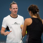Julia Goerges' Coach Michael Geserer.