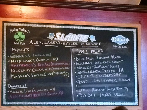 Beer Board at Paddy Malone's Pub in Jefferson City MO