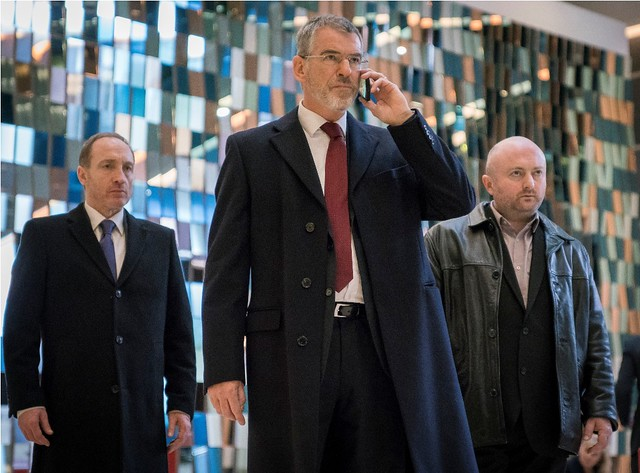 (Left to Right) Michael McElhatton as Jim Kavanagh, Pierce Brosnan as Hennessy, David Pearse as Billy McMahon in THE FOREIGNER