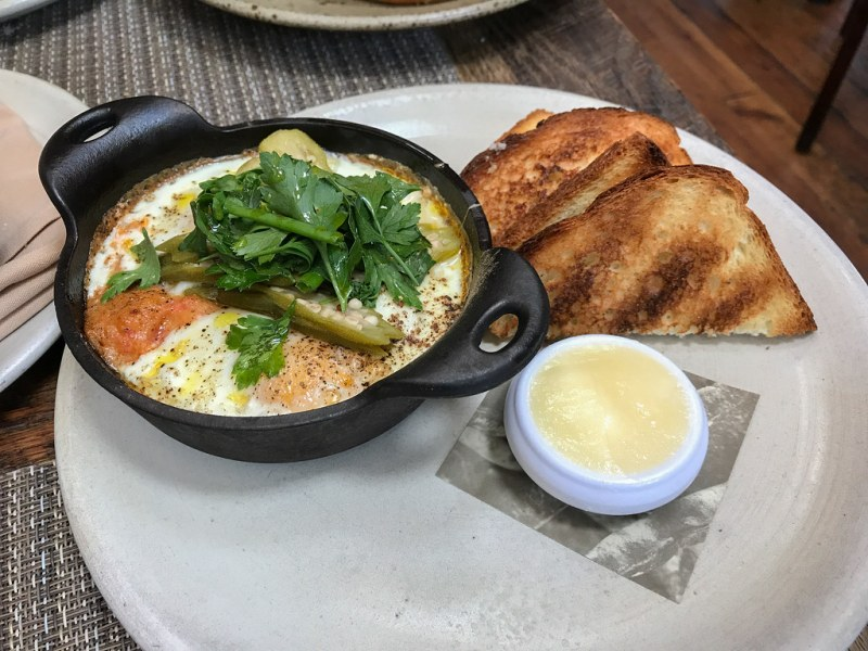Coddled Egg, Chicken Pork Boudin, Tomato Cornmeal Gravy, Pickled Okra ($14)