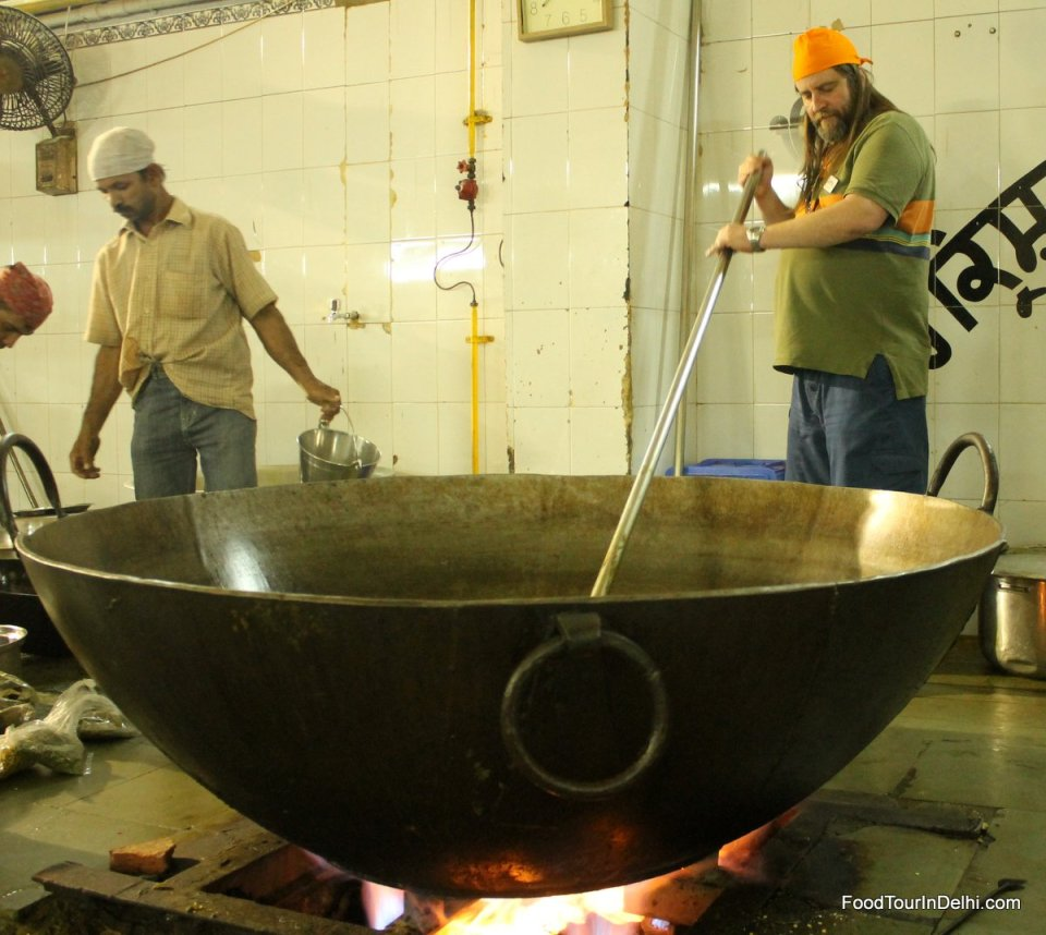 Trying to cook in a giant pot