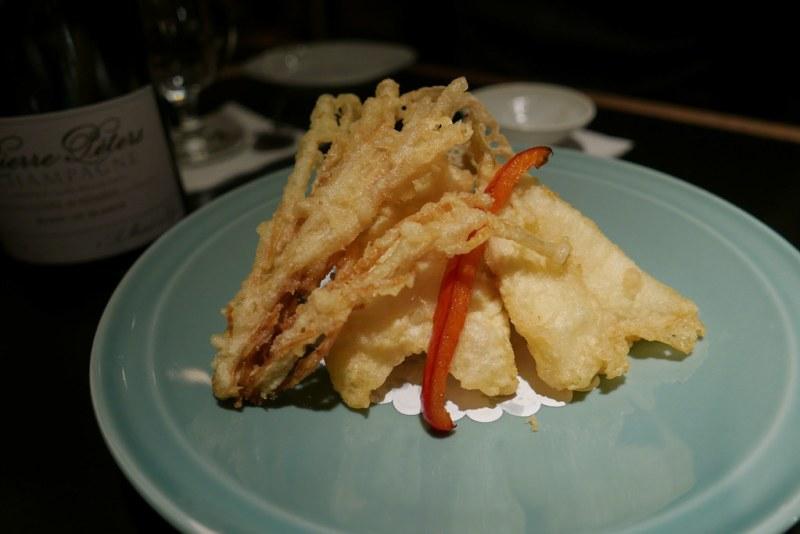 Tempura - Kisu Fish, Okra, Lotus Root, Enoki Mushroom, Shishito, Red Sweet Bell Pepper, Shiitake Mushroom, Kuri Kabocha Pumpkin