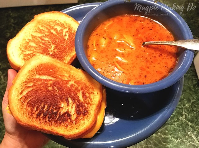 beefy tomato soup with grilled cheese