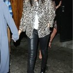 Celebrity Street Style : Selena Gomez wears a white t-shirt, leopard jacket, leather skinny jeans, and bl... - #StreetStyle.