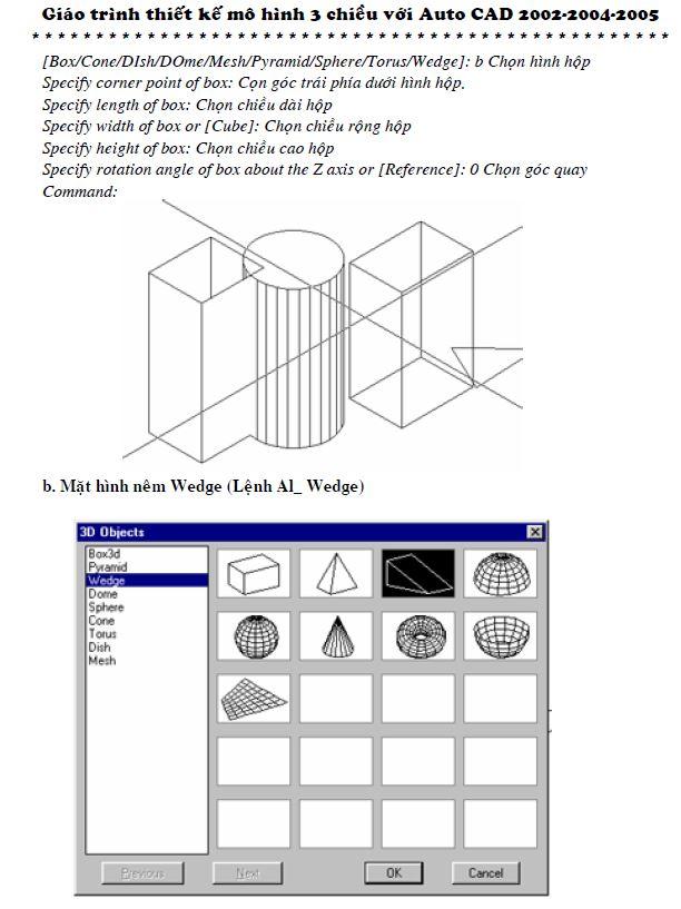 giáo trình thiết kế mô hình 3D với autocad