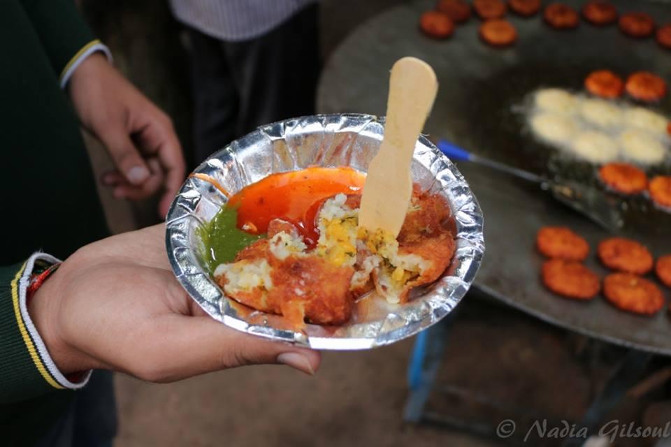 Aaloo Tikki with Tamarind and Mint Coriander chutneys