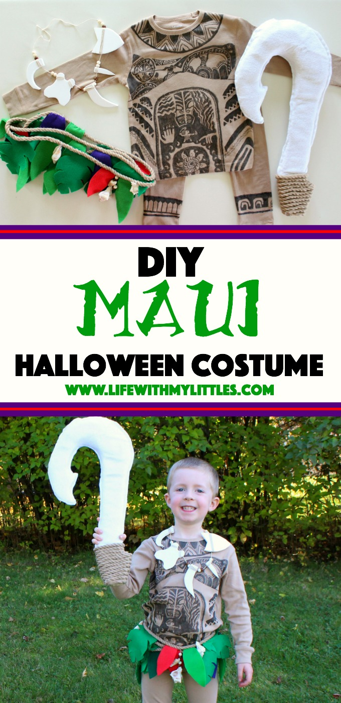 This DIY Maui costume is amazing! The detail is awesome, and she tells you where to get everything and how to make it! A great Moana costume idea for boys!