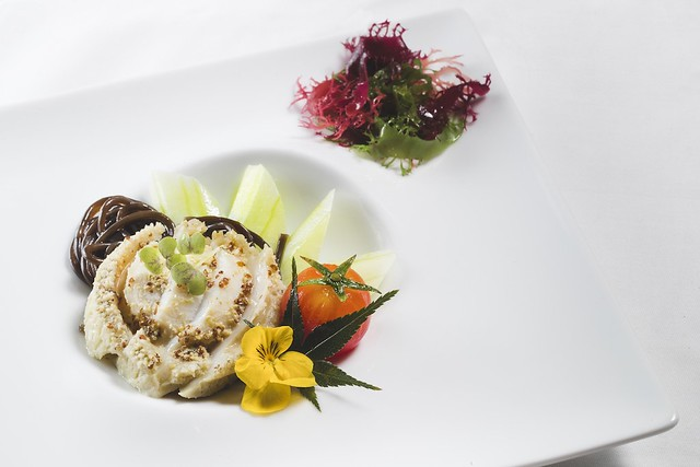 Chilled Abalone with Mustard and Fern Root Noodles