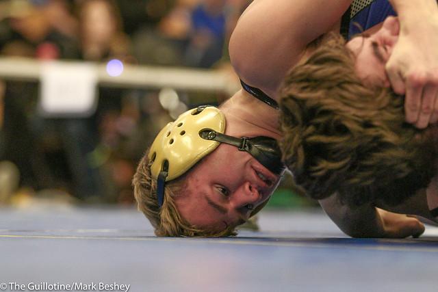 126 lbs 1st Place - Ryan Ripplinger (Bismarck) won by fall over Reid Ballantyne (Stillwater) Fall 3:30. 171021mk0051