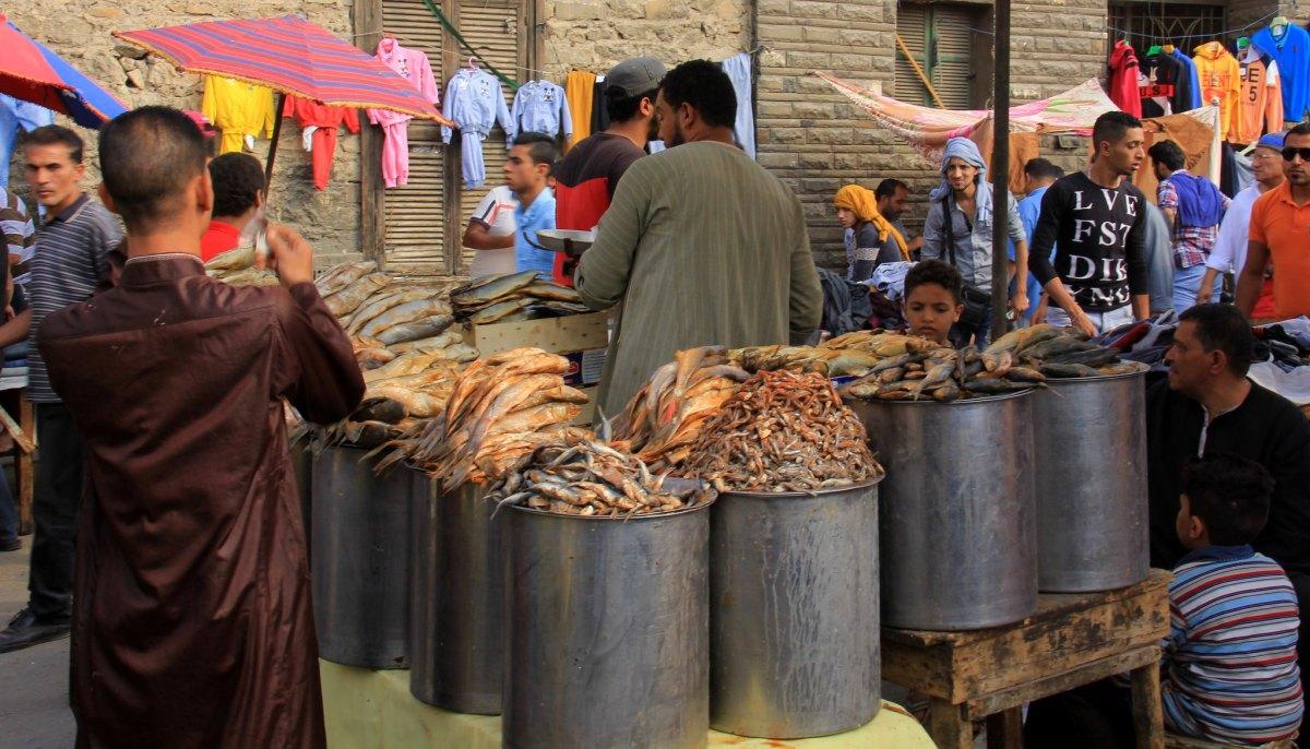 Dried fish sellers at souq al goma