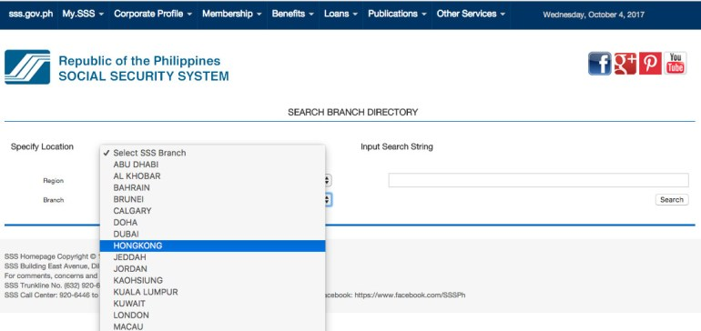 SSS Directory - Select Branch