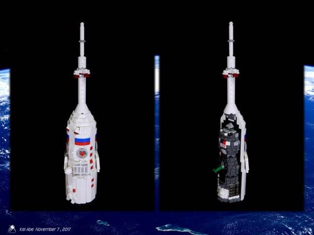 Minifig-scale LEGO Soyuz-1-7 Soyuz-FG