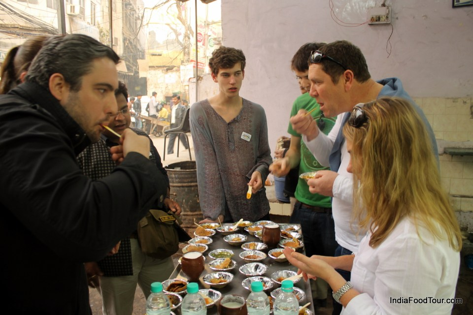 Starting food tour with samosa, kachori and lassi