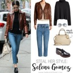 Celebrity Looks : Selena Gomez's brown leather jacket and loafers look for less... - #Celebrity.
