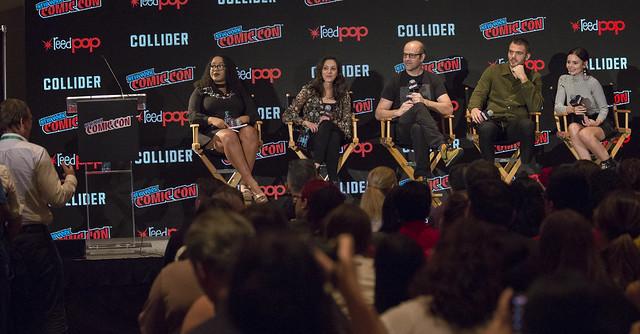Moderator Ariana Romero, Emily Whitesell, Eric Wald, Alex Roe and Eline Powell