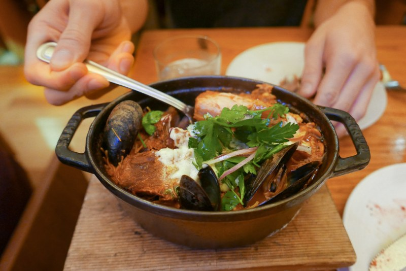 Slow Roasted Pork Shoulder, Fideo Noodles, Spanish Chorizo, Mussels, Squid Stew ($26)
