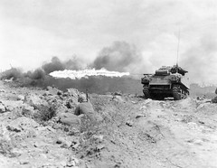 M4 Sherman Flame thrower firing on Japanese positions  on Iwo Jima Feb-March 1945.