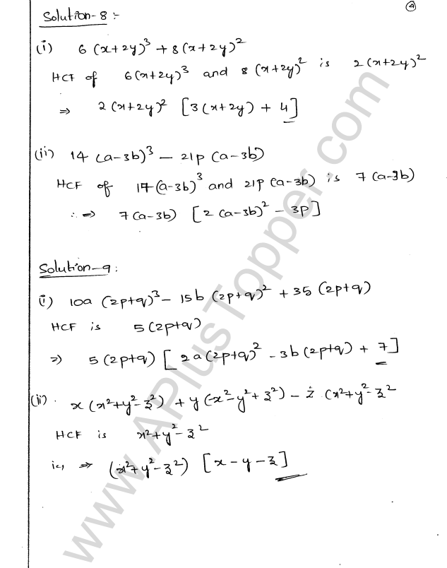 ML Aggarwal ICSE Solutions for Class 9 Maths Chapter 4 Factorisation ...