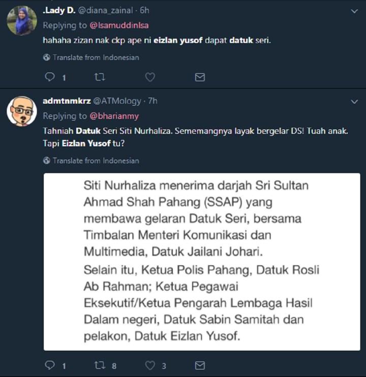 Gelaran 'Datuk Seri' Eizlan Pun Kena Kecam!