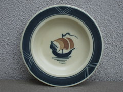 Small Deco Royal Copenhagen Galleon Plate
