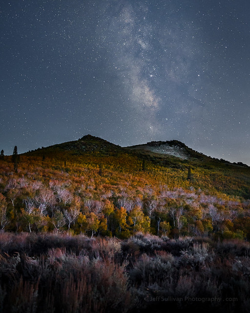 Milky Way Over Fall Colors. Eastern Sierra, California. Astrophotography.