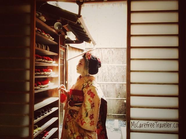 Maiko at entrance of AYA studio