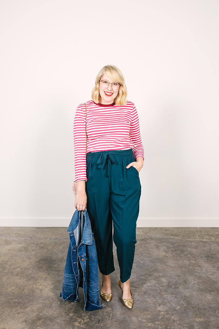 colorful fall capsule teal obi tie trousers pink striped shirt8