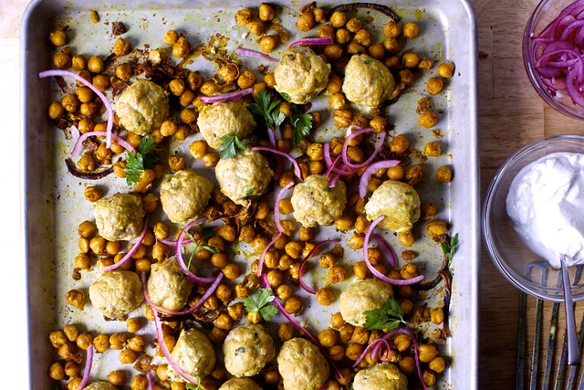 sheet pan meatballs with chickpeas, turmeric and lemon
