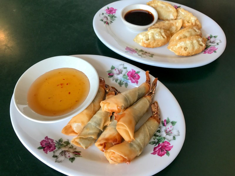 Pork Pot Stickers, Ginger Sauce ($4.95) Shrimp Cigar, Sweet and Spicy Sauce ($6.95)