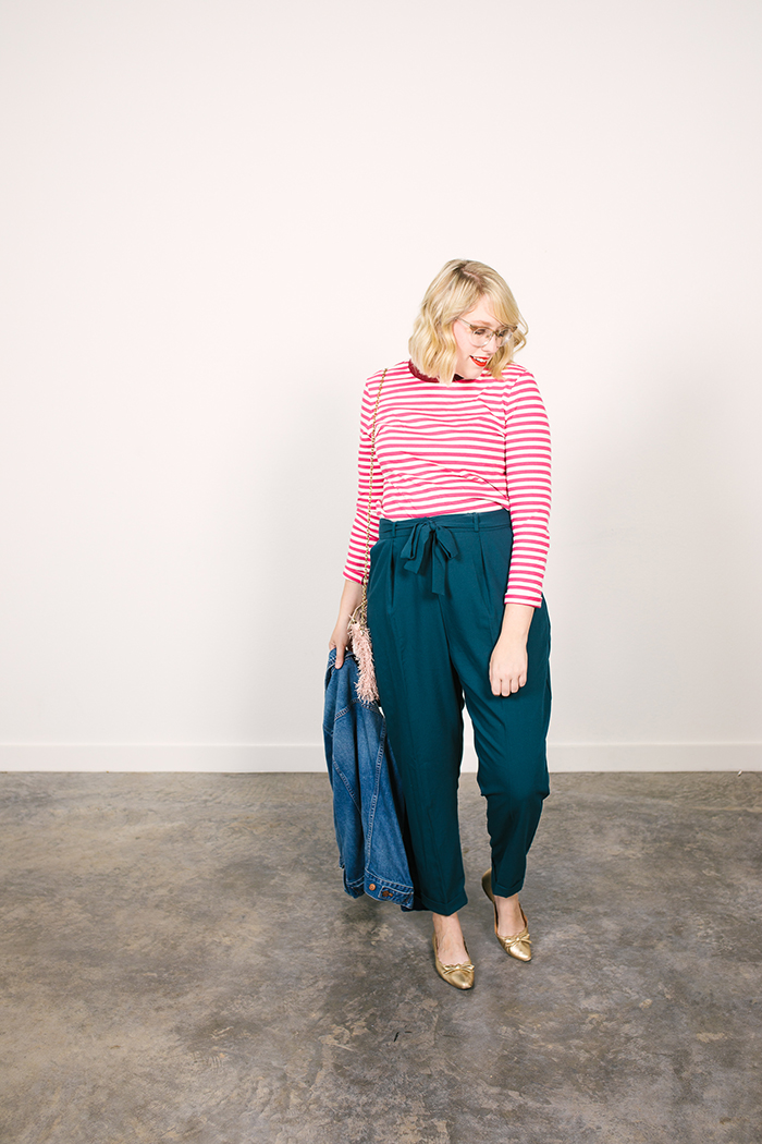 colorful fall capsule teal obi tie trousers pink striped shirt6