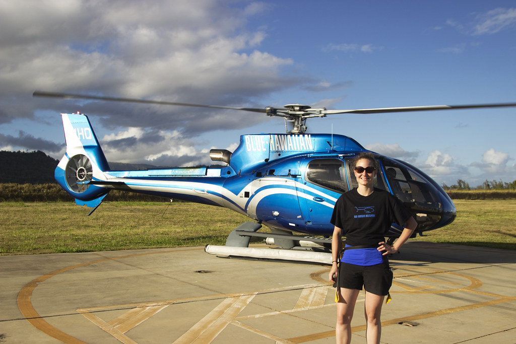 Happy Blue Hawaiian Helicopter Tour customer