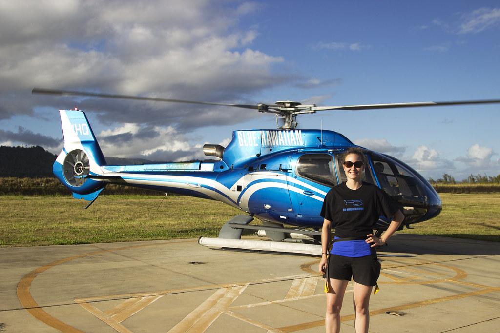 Happy Blue Hawaiian Helicopter Tour customer