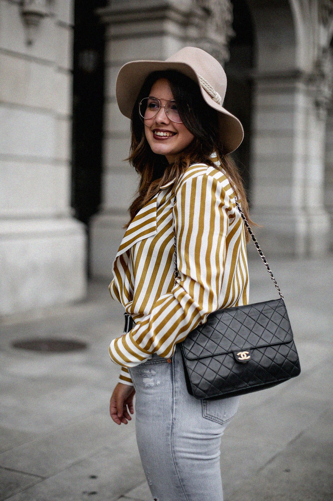 blusa rayas mostaza zara levis skinny 501 streetstyle9